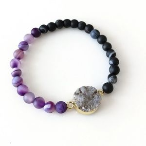Gold-plated galaxy quartz druzy braded bracelet